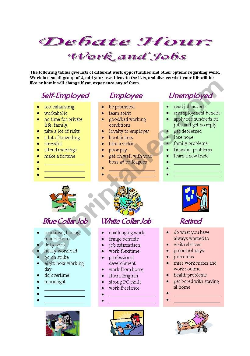 Debate Hour:  Work and Jobs worksheet