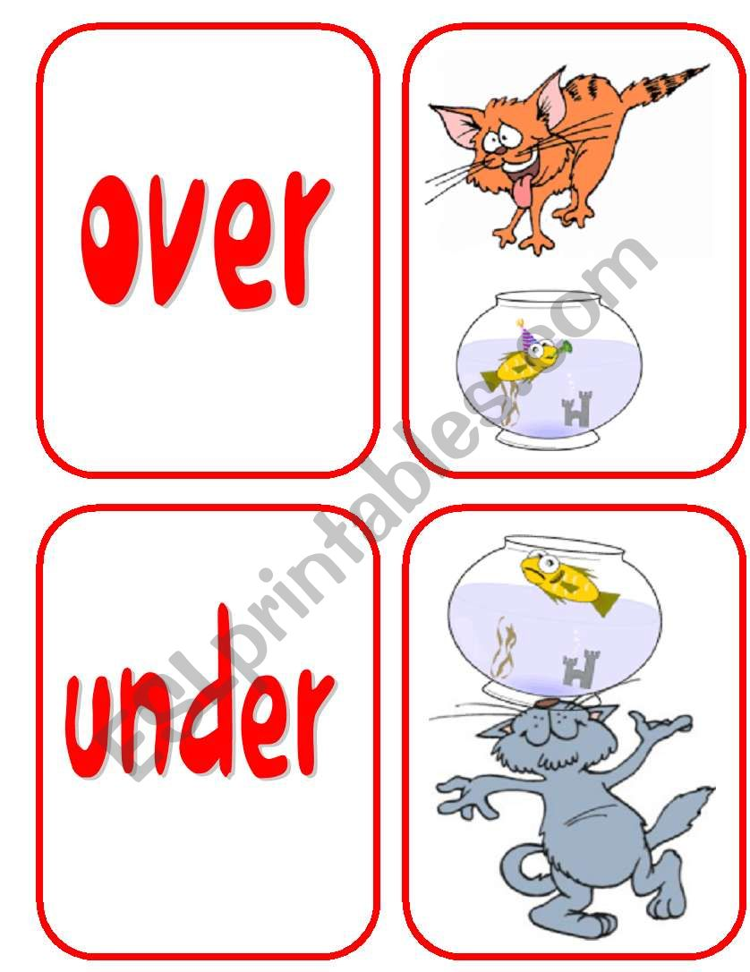 PREPOSITIONS- CARDS 1/2 worksheet