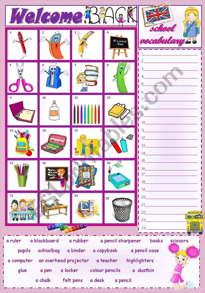 SCHOOL VOCABULARY worksheet