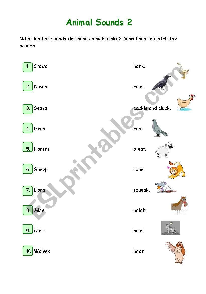 english worksheets animal sounds 2. Black Bedroom Furniture Sets. Home Design Ideas