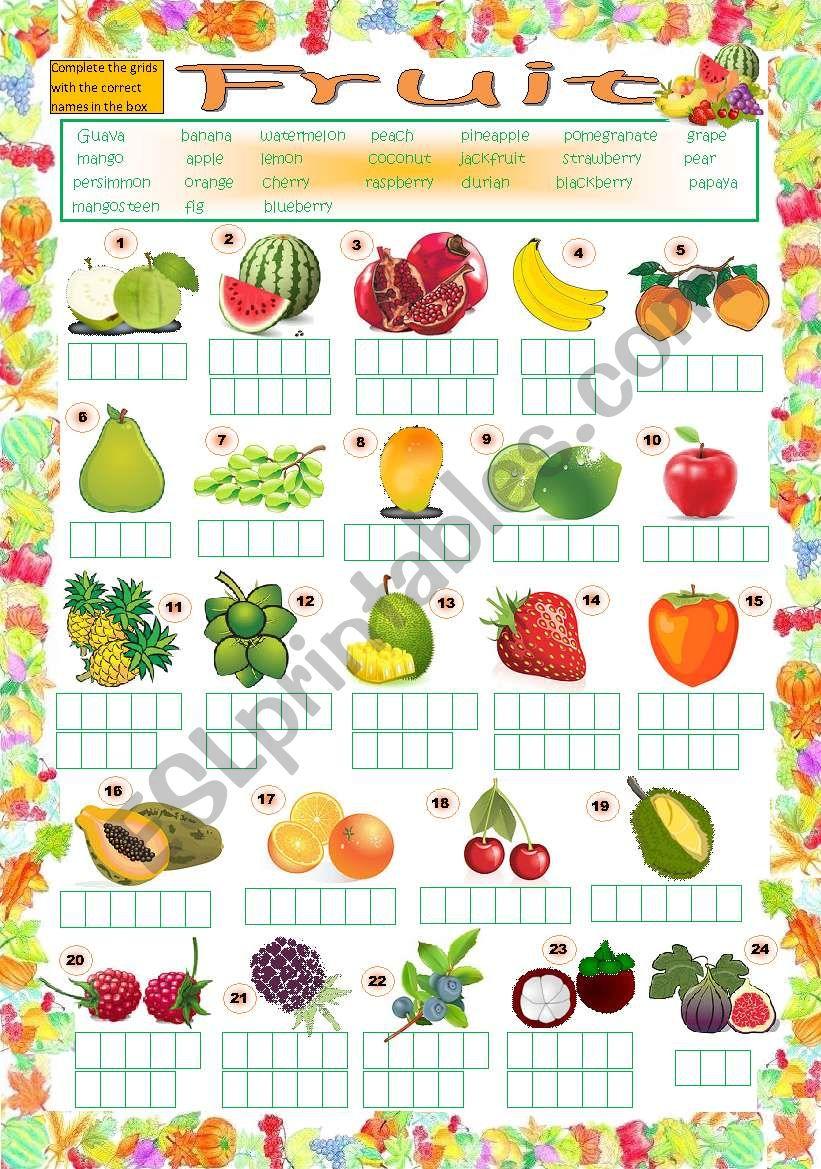 Fruit Puzzle (key included) worksheet