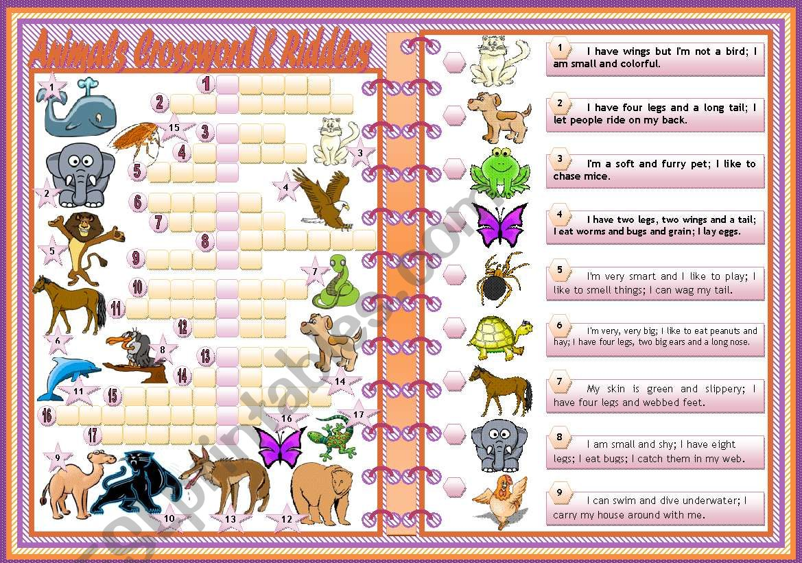 Animals Crosswords & Riddles • teacher's handout with keys • 2 pages • editable