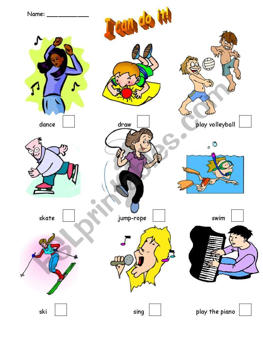 I Can Do It!  worksheet