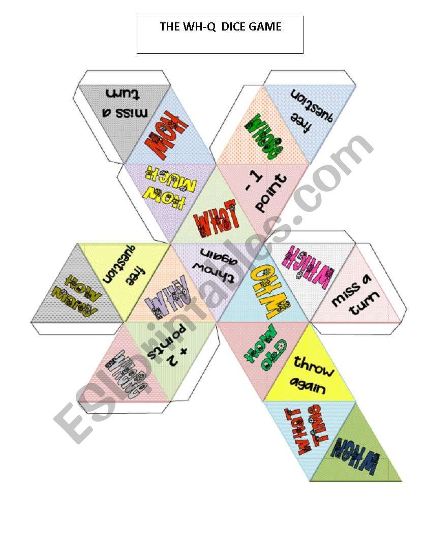 WH-Q- dice game worksheet