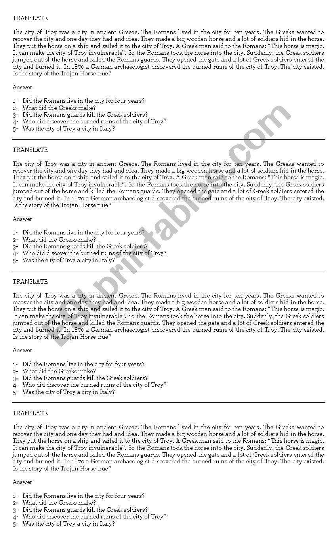Translate worksheet