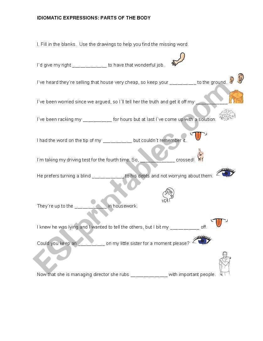 Idiomatic expressions with parts of the body - ESL worksheet