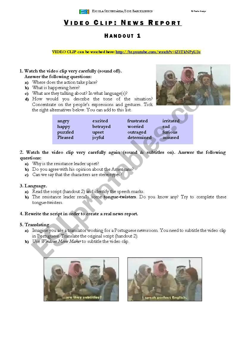 VIDEO CLIP: NEWS REPORT worksheet