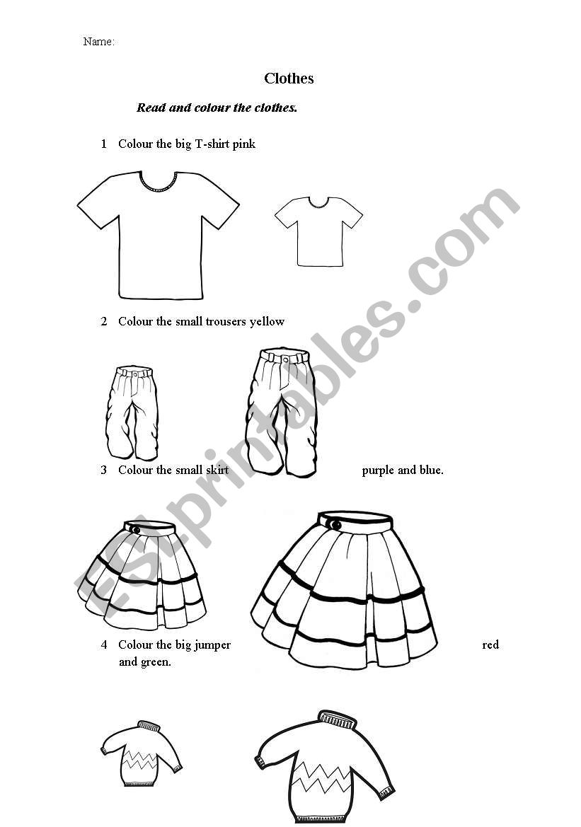 Read and colour the clothes worksheet