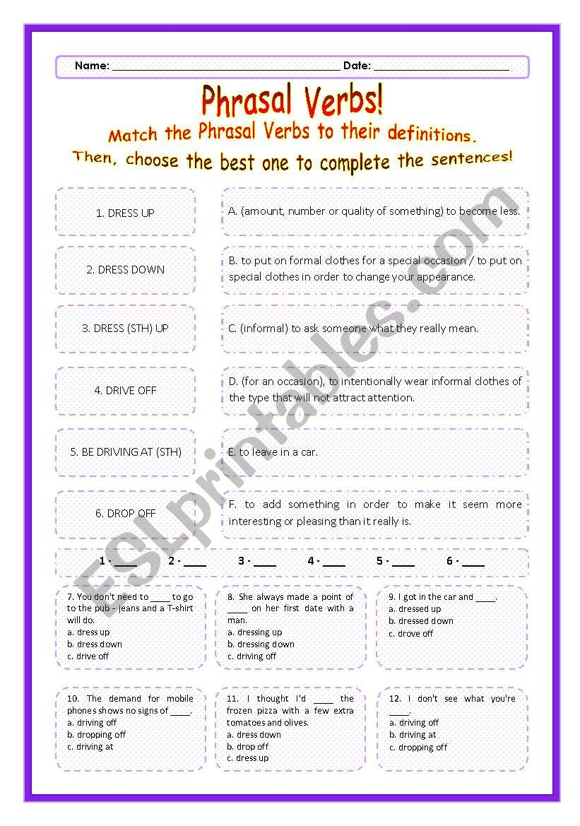 > Phrasal Verbs Practice 26! > --*-- Definitions + Exercise --*-- BW Included --*-- Fully Editable With Key!