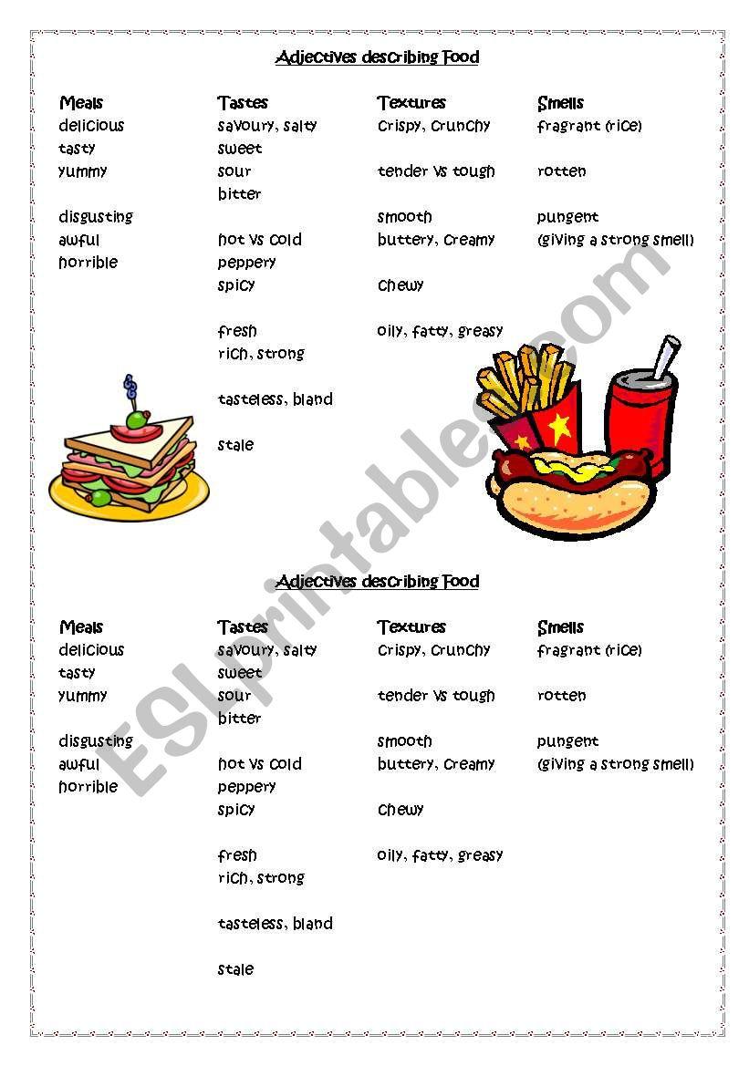Adjectives describing Food Meals Tastes Textures Smells ESL worksheet by steptong