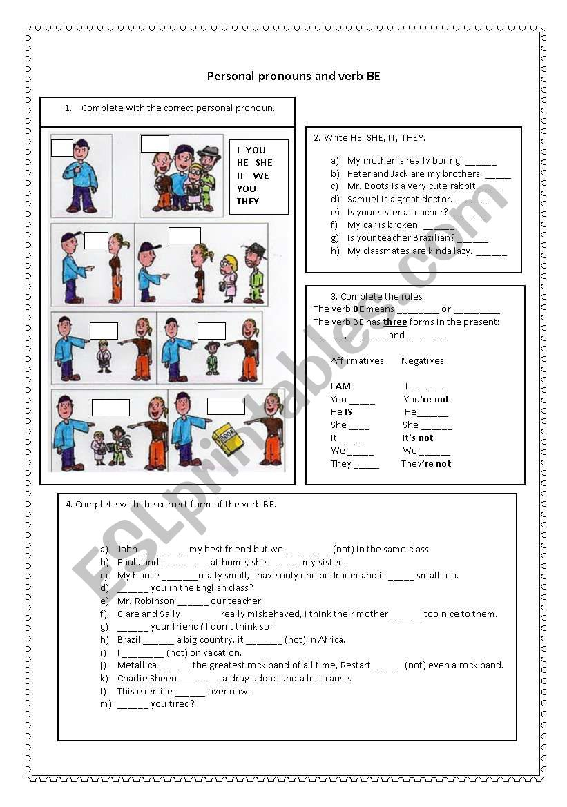 Personal pronouns and verb BE worksheet