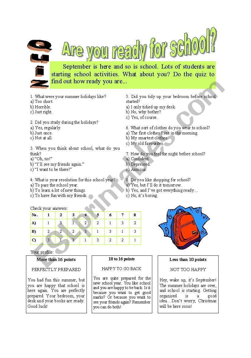 Are you ready for school? worksheet