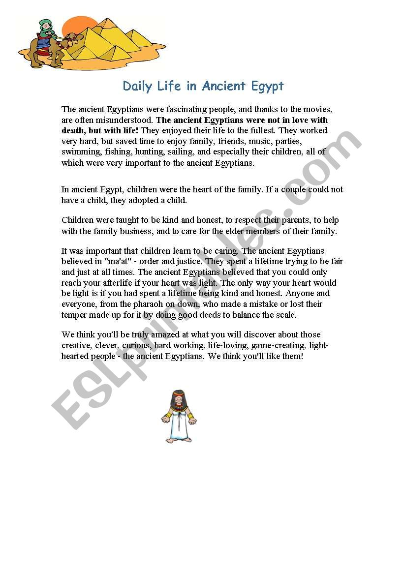 daily life in ancient egypt  worksheet