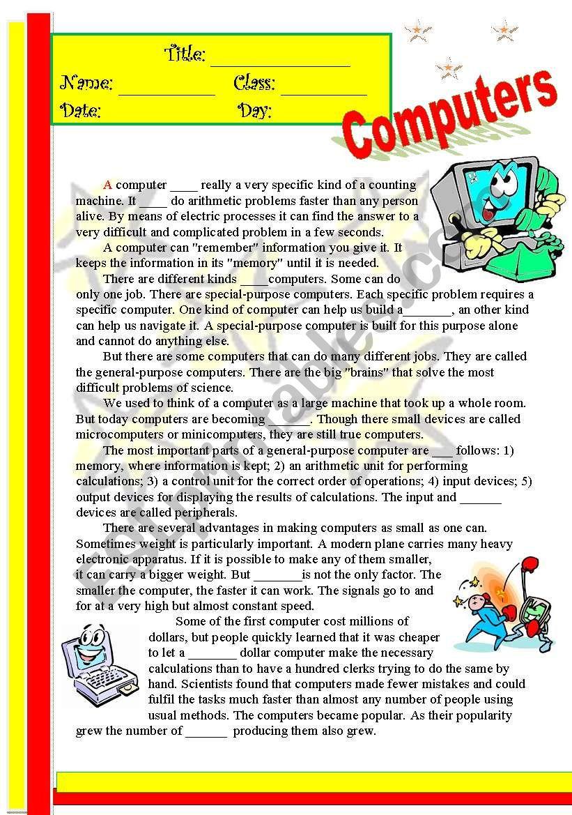 Computers worksheet