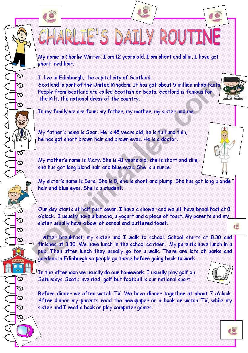 Charlie´s daily routine worksheet