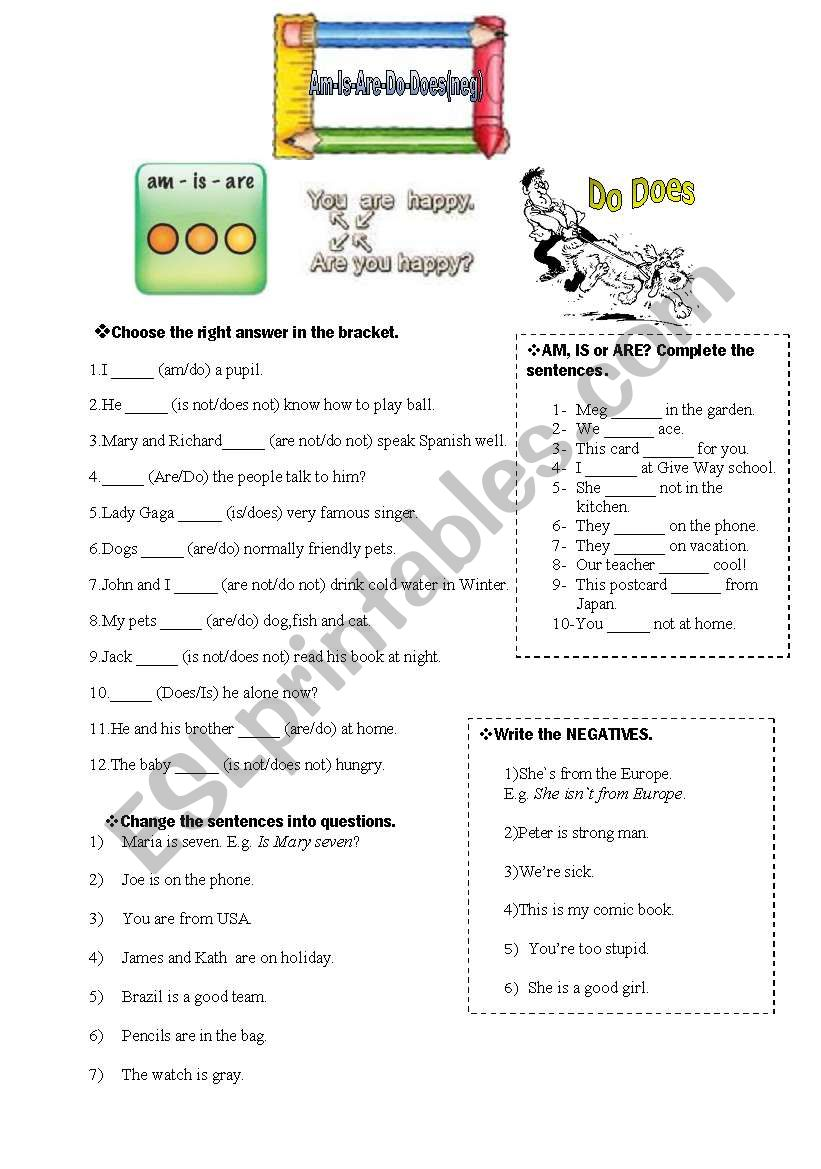 AM-IS-ARE-DO-DOES worksheet