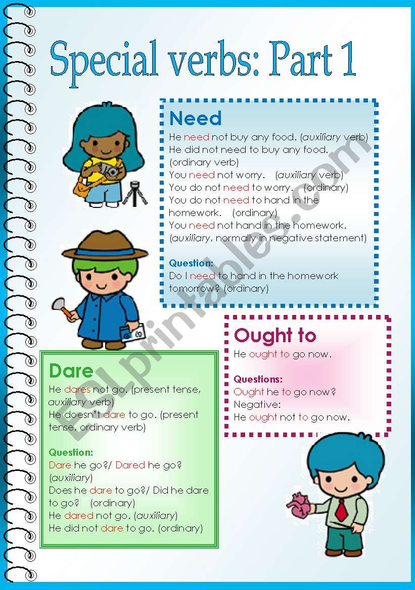 Special Verbs Need Dare Etc Part 1 Esl Worksheet By Steptong