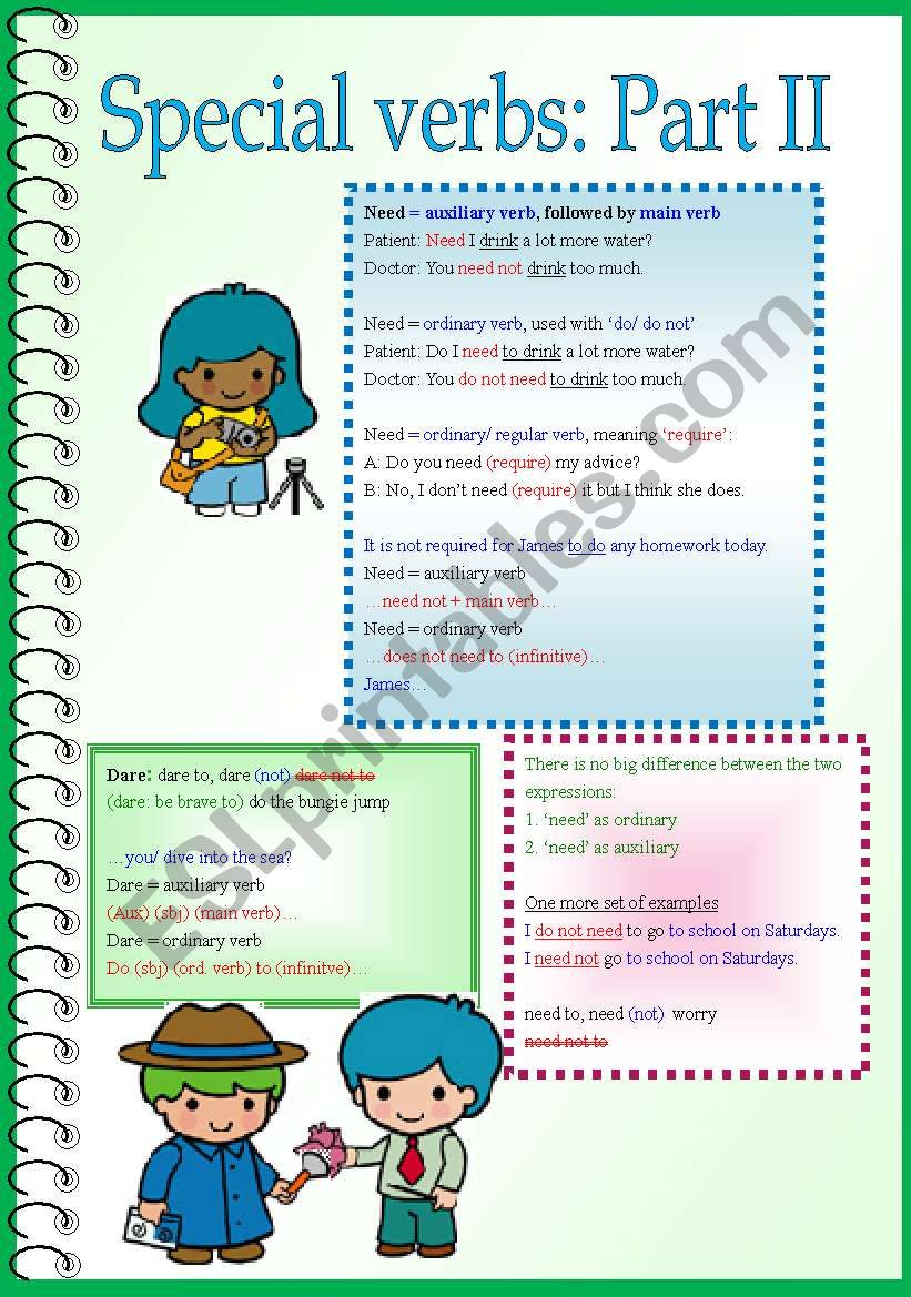 Special Verbs Need Dare Part 2 With More Examples Esl
