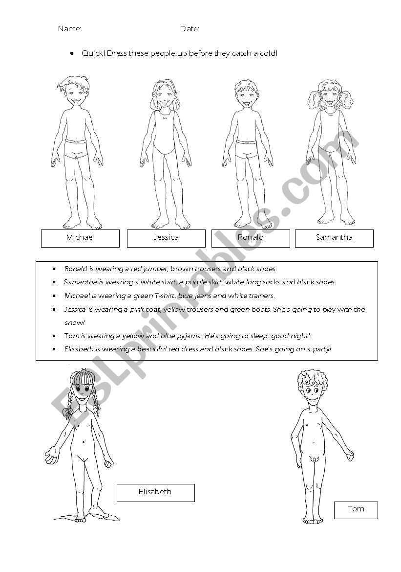 Dress these people worksheet