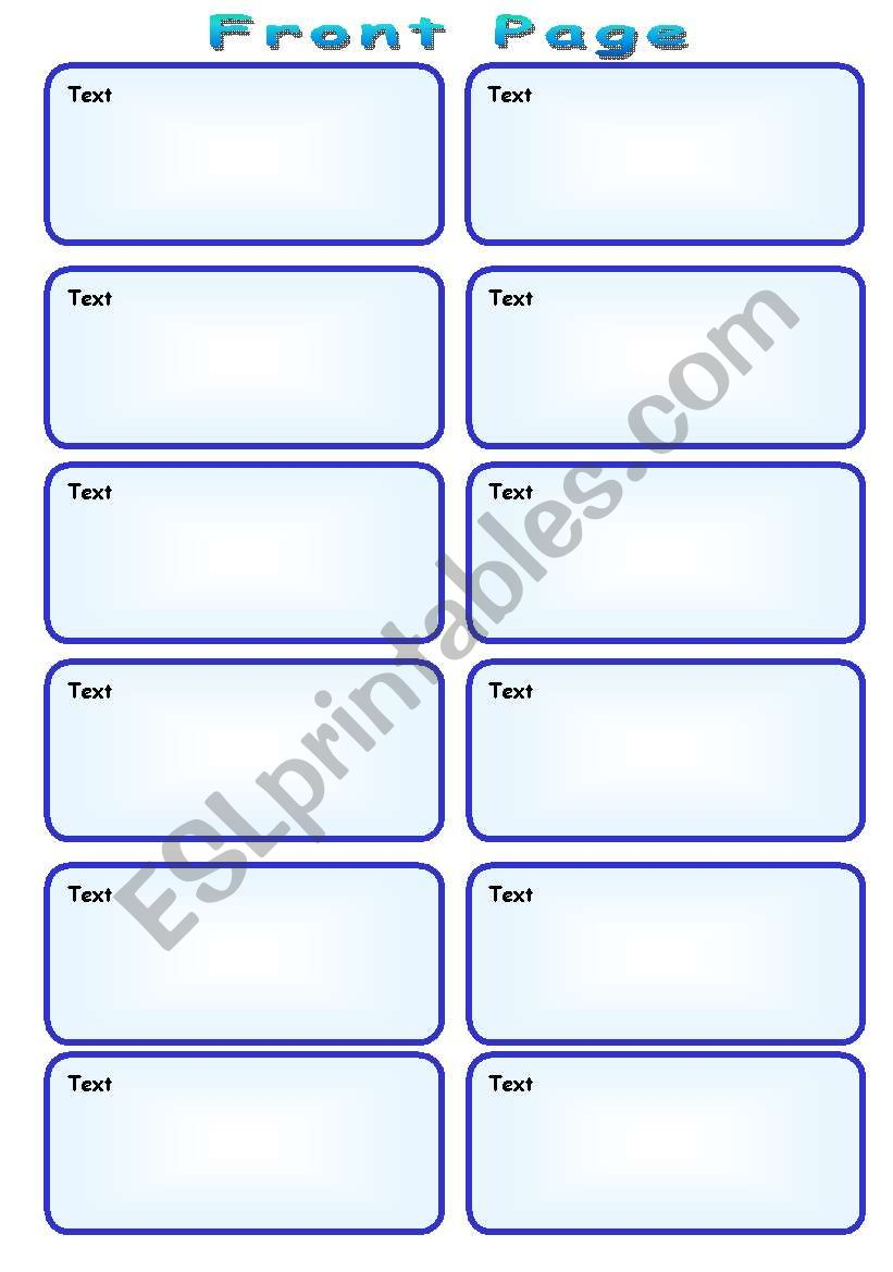 Speaking Cards Template (2 pages)