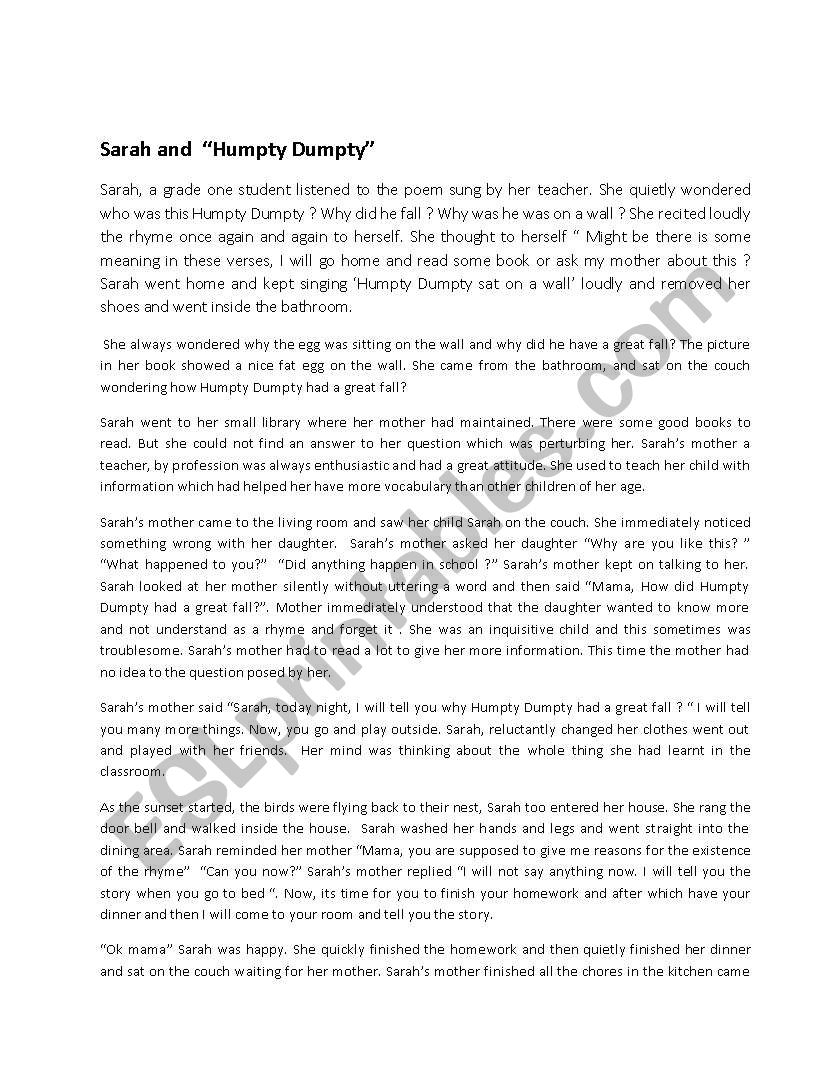 Sarah and Humpty Dumpty worksheet