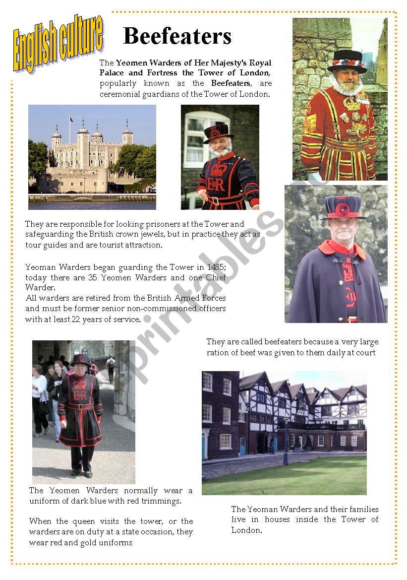 English culture 4 - beefeaters / Yeoman Warders