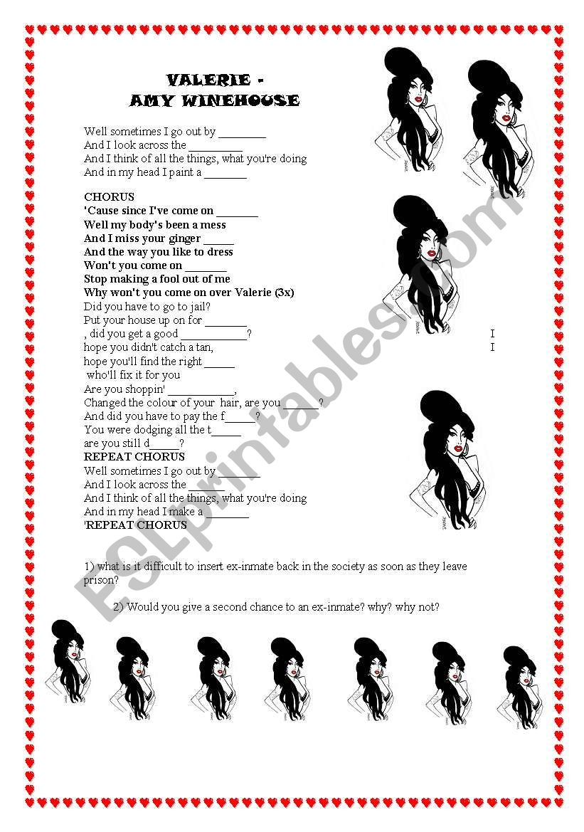 amy winehouse Valerie worksheet