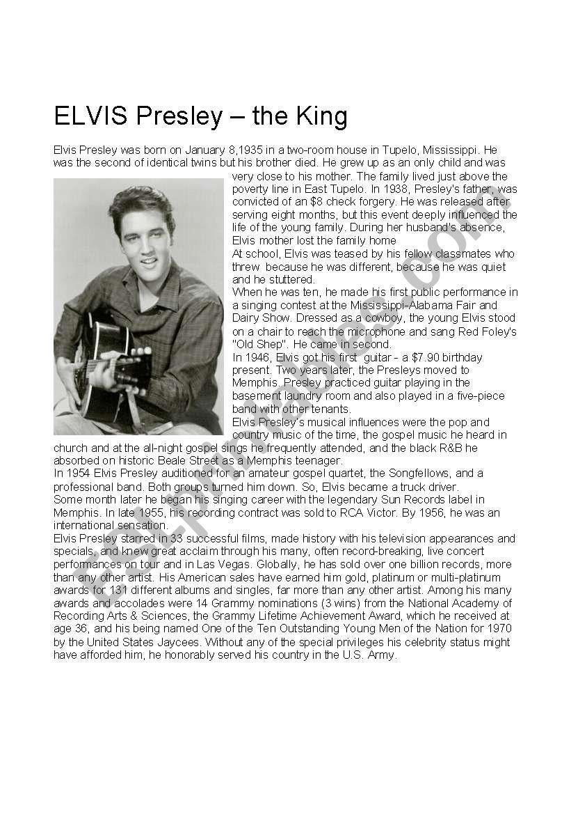 Elvis Presley, the king worksheet