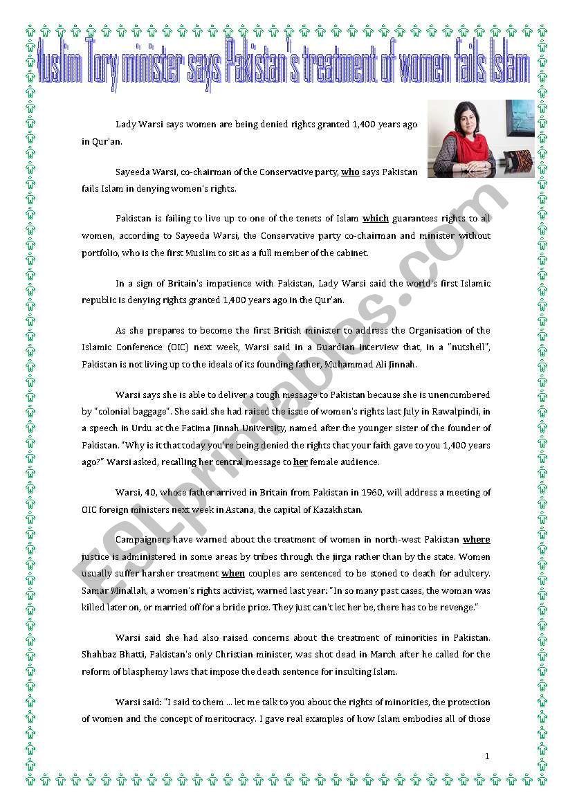 MUSLIM TORY MINISTER SAYS PAKISTAN´S TREATMENT OF WOMEN FAILS ISLAM /HUMAN RIGHTS