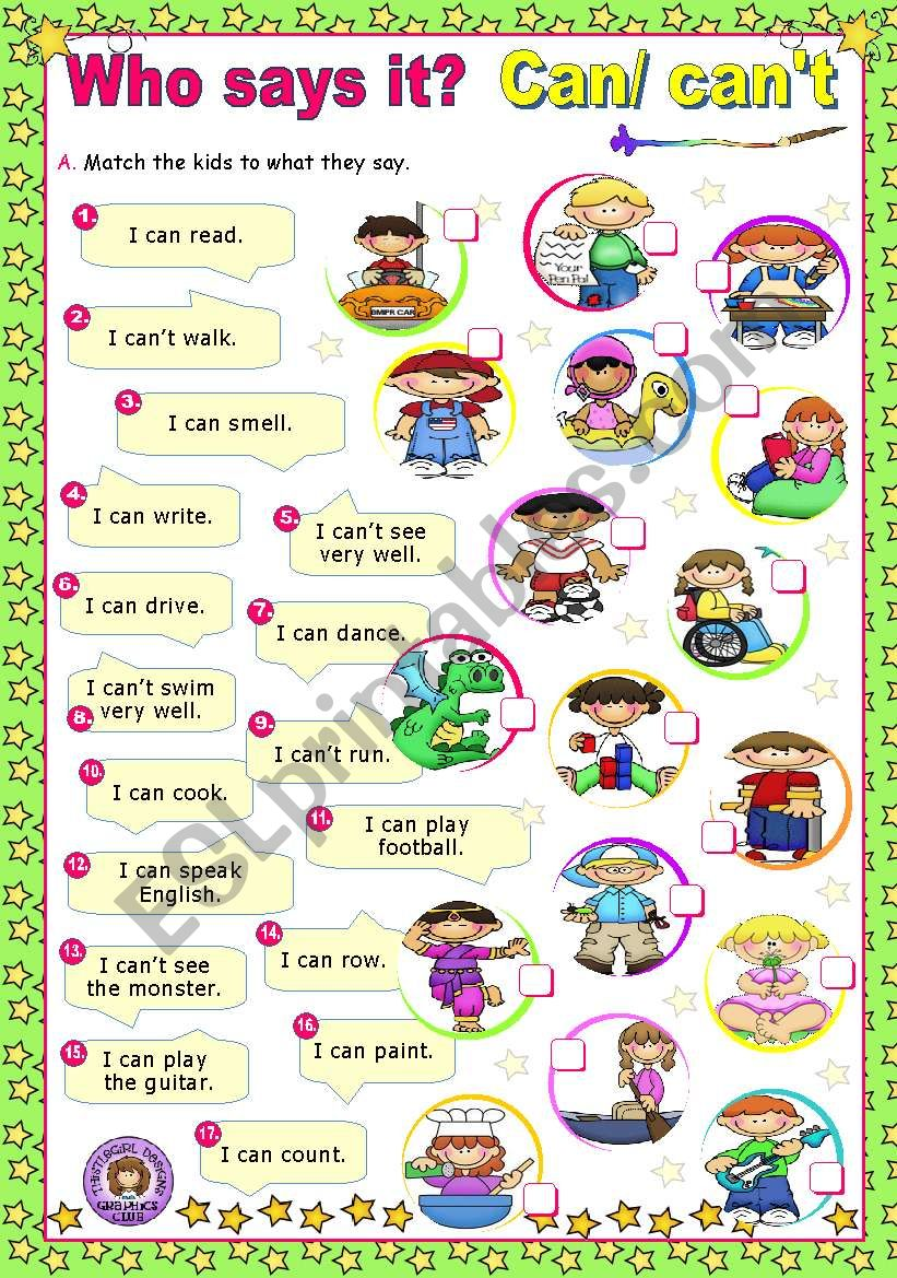 Who says it?  -  Modal Verbs (1)  -   Can/ Can´t