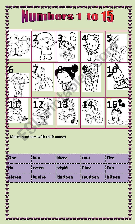 Numbers 1 to 15 worksheet