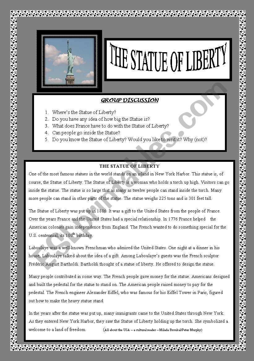 The Statue of Liberty worksheet