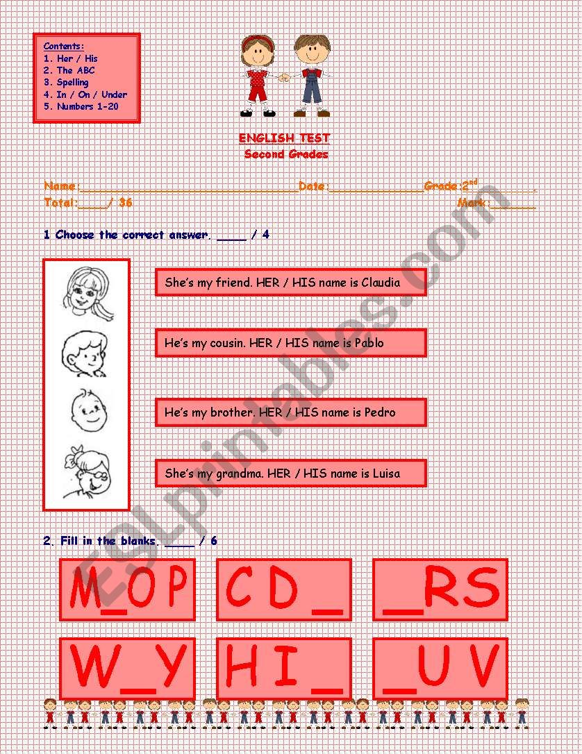 English Test, 3 Pages: Use of Her/ His - The ABC - Spelling - Furnitures - In/On/Under - Numbers 1/20
