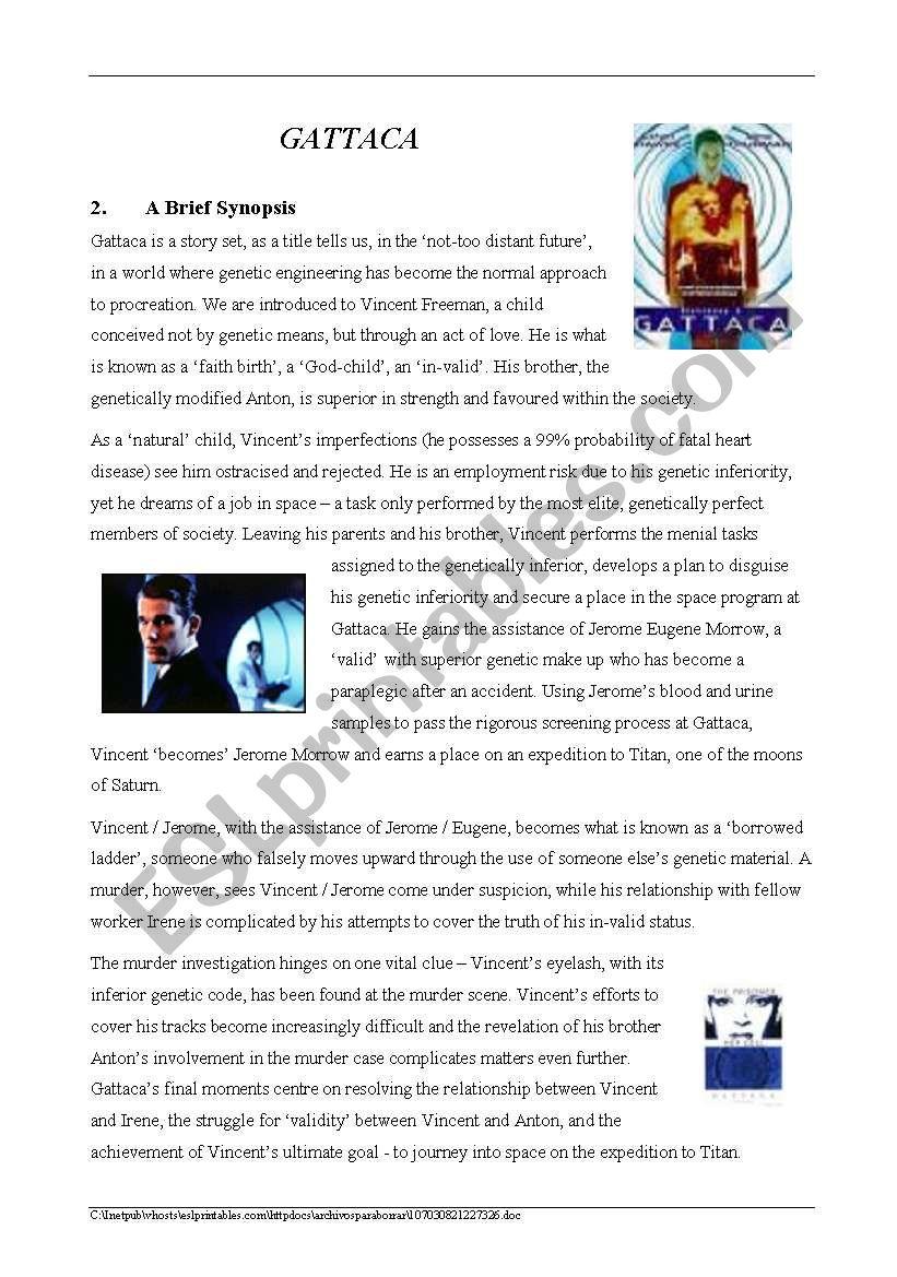 Worksheets Gattaca Worksheet gattaca synopsis esl worksheet by phil warner worksheet