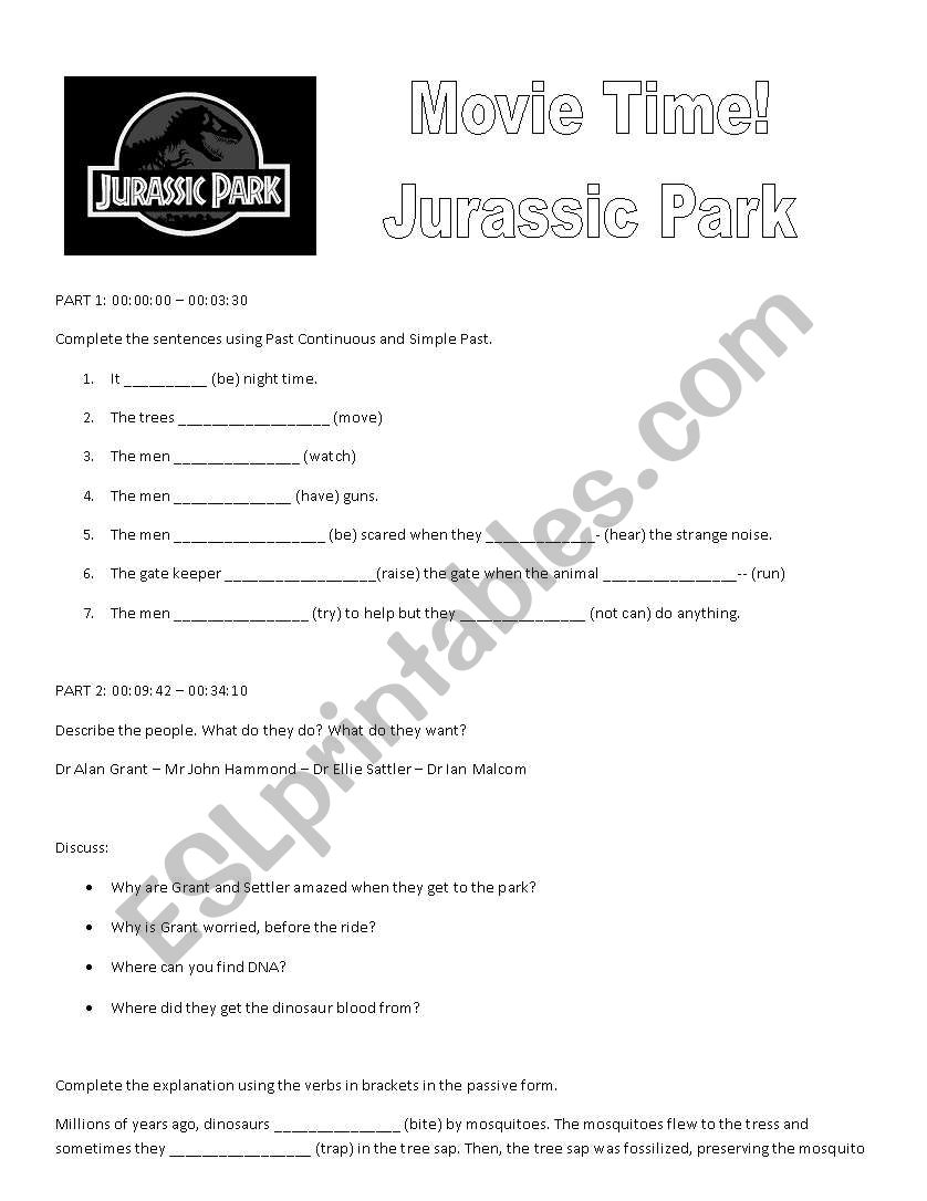 English worksheets: Jurassic Park worksheet 1
