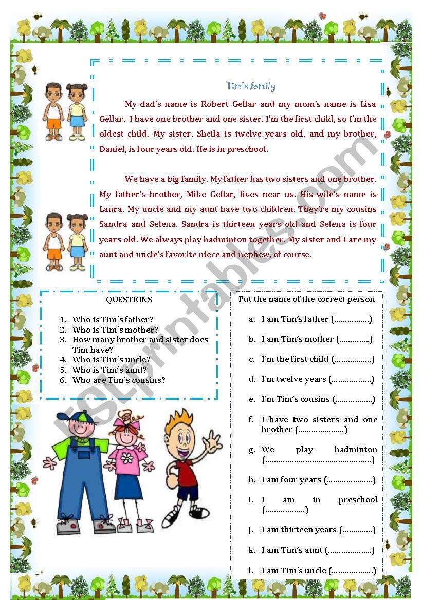 Tim´s family worksheet