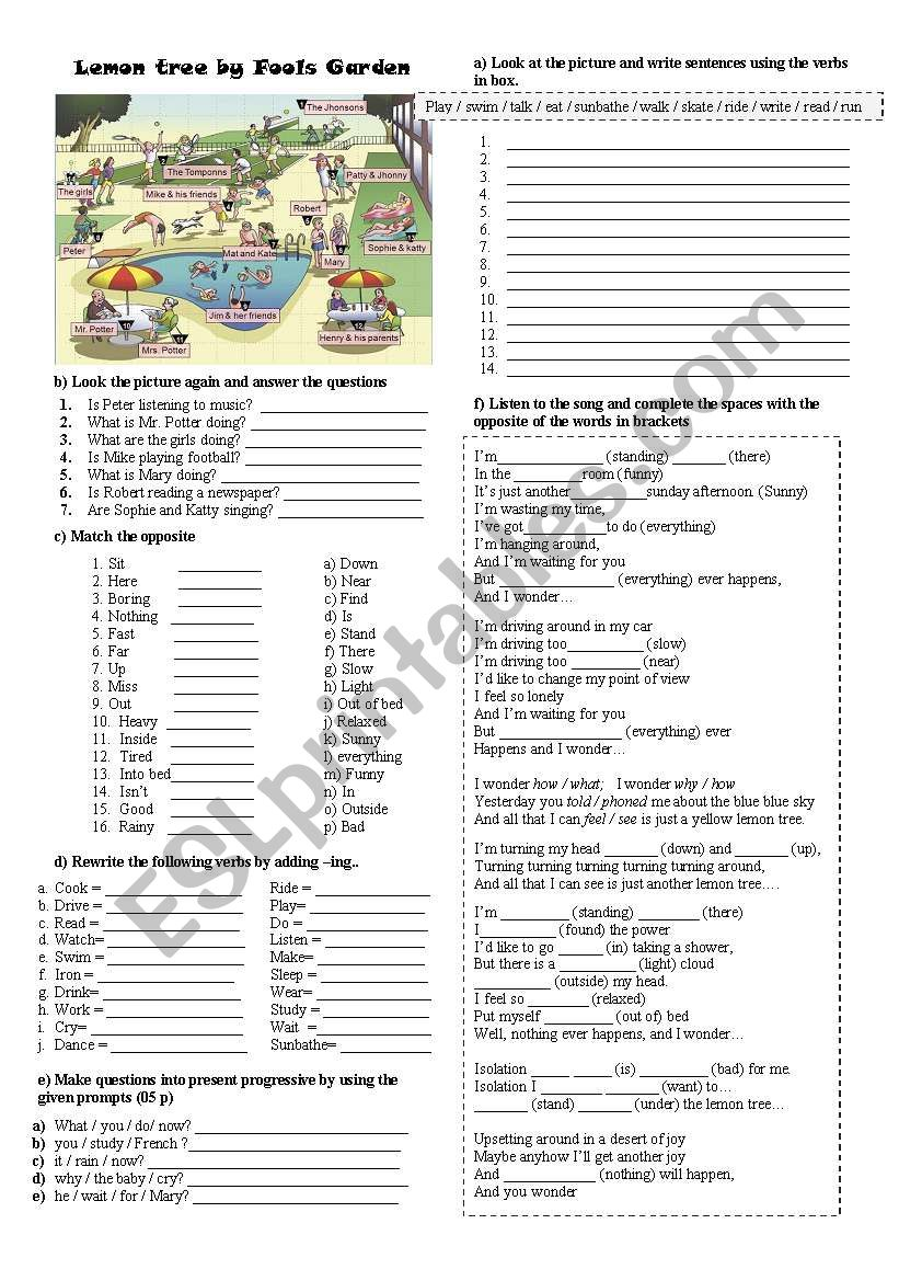 SONGSHEET LEMON TREE worksheet