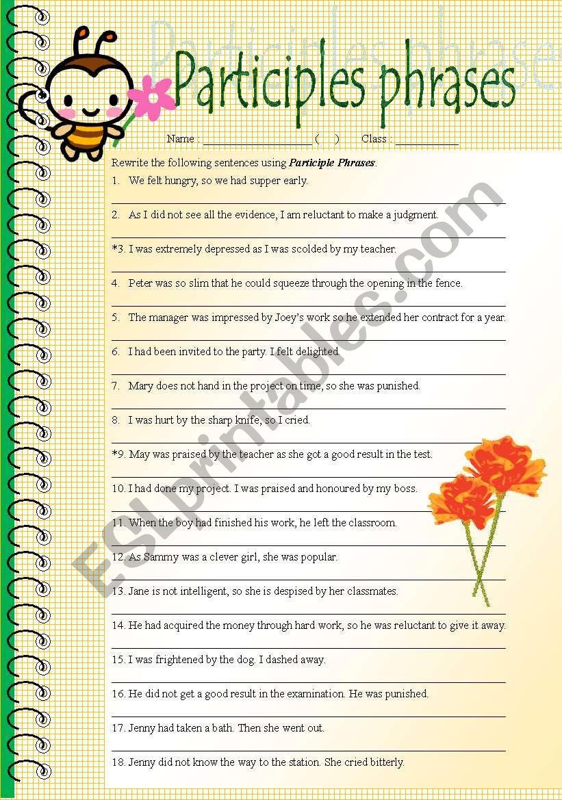Rewrite Sentences In Participle Phrases Esl Worksheet By