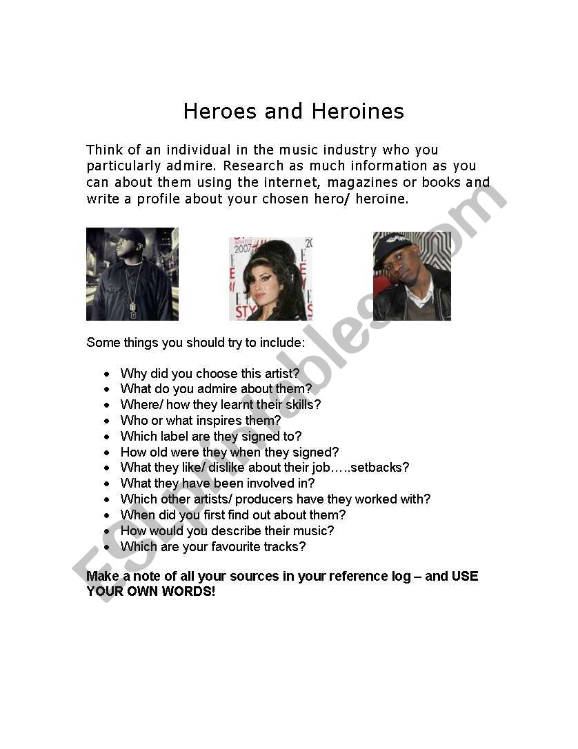 Heroes and heroines profile worksheet