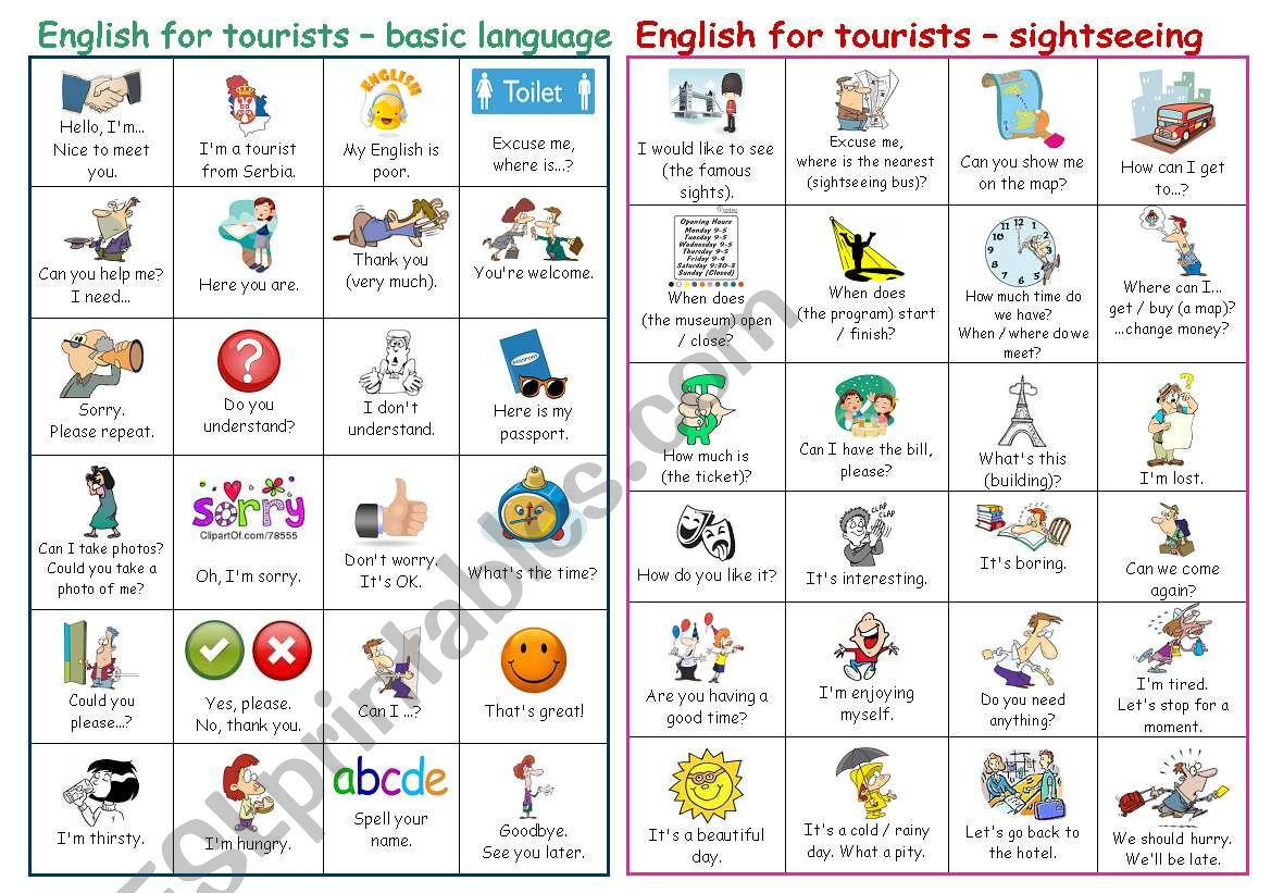 Basic English for tourists - pictionary (part 1)