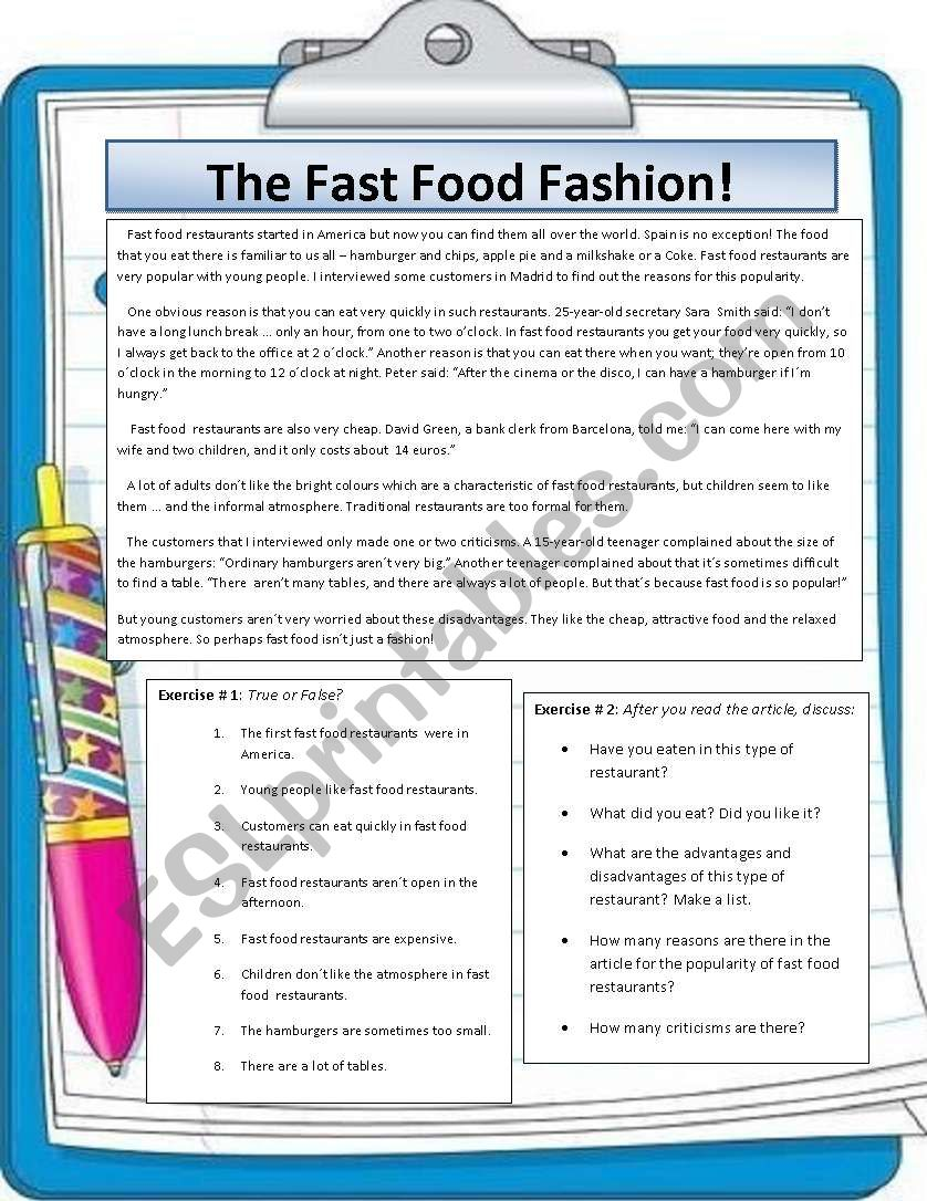 The fast food fashion reading and speaking lesson esl worksheet reading and speaking lesson ibookread Download