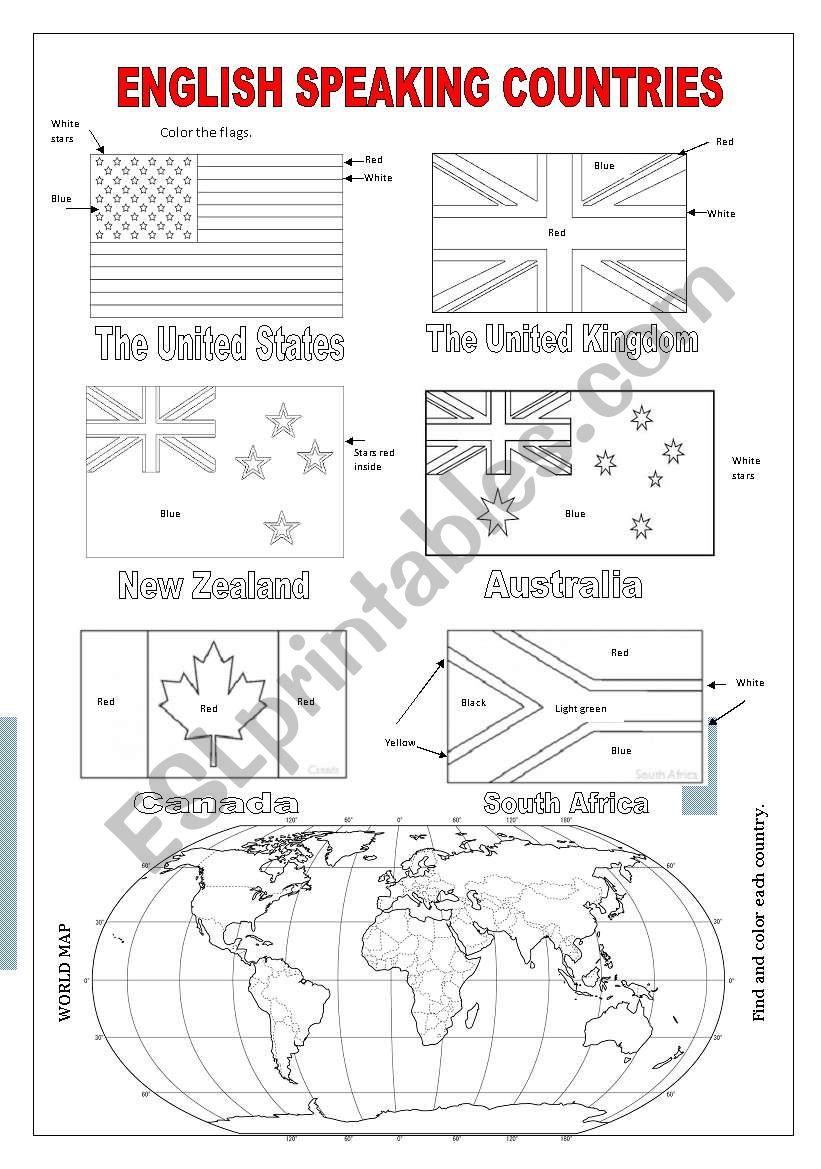 English Speaking Countries - ESL worksheet by Whizz