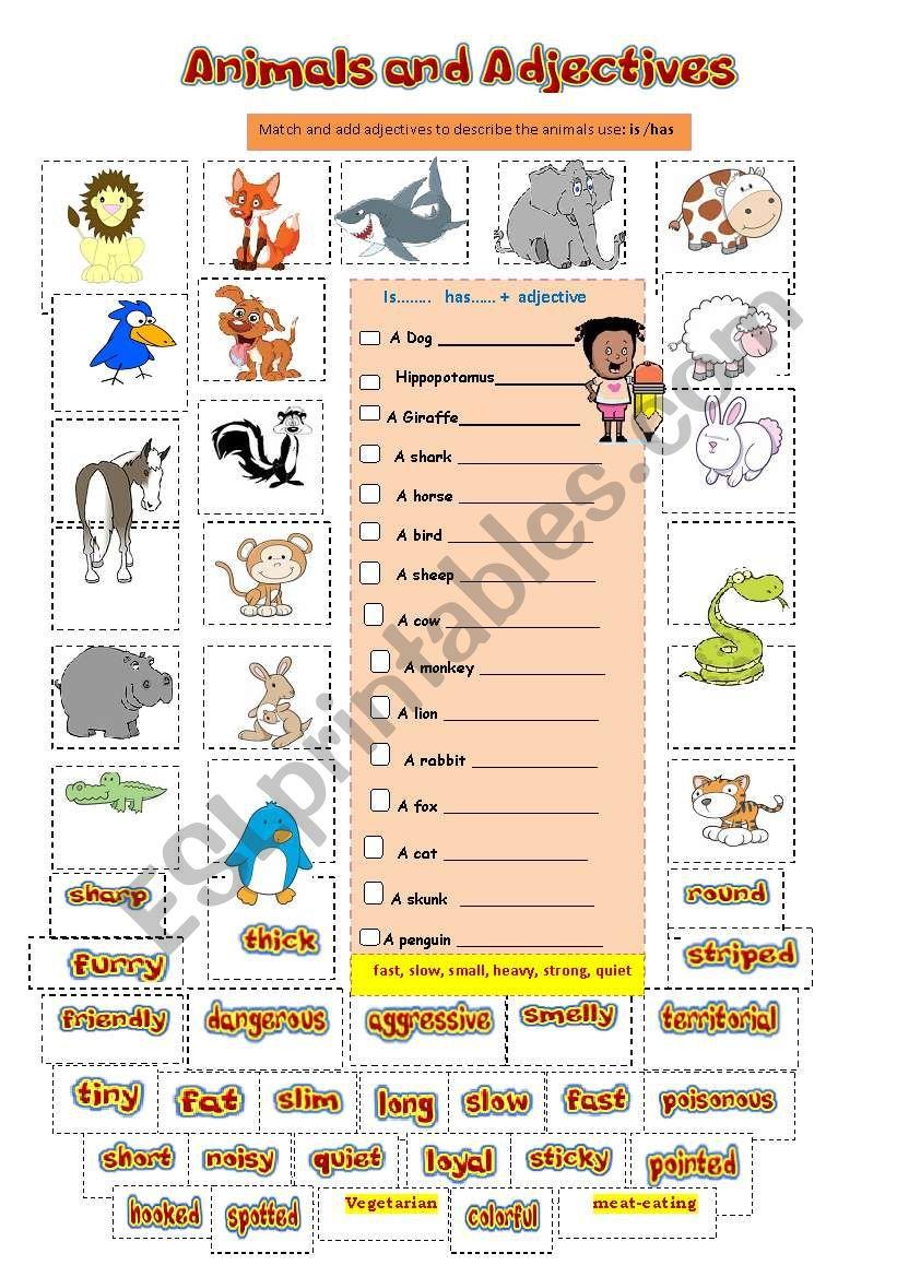 animals adjectives verbs 1 2 esl worksheet by orly100. Black Bedroom Furniture Sets. Home Design Ideas