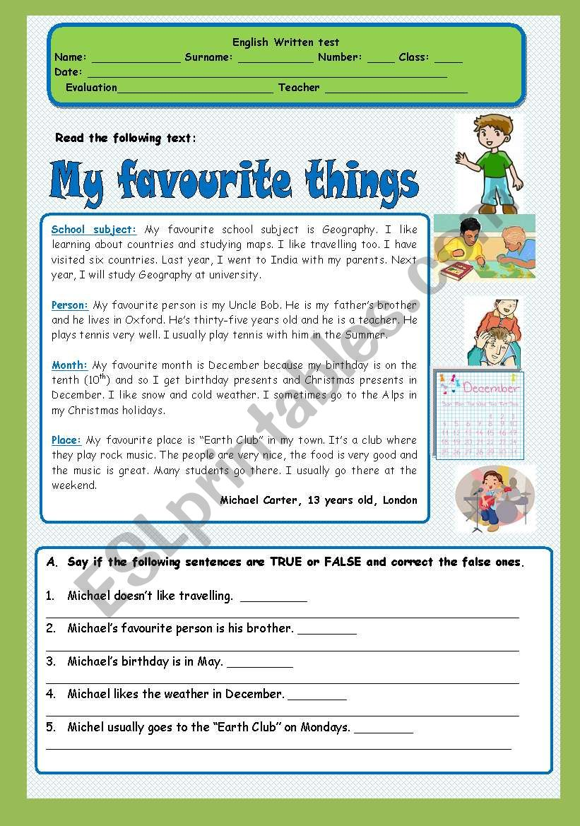 Test My Favourite Things Esl Worksheet By Ana B