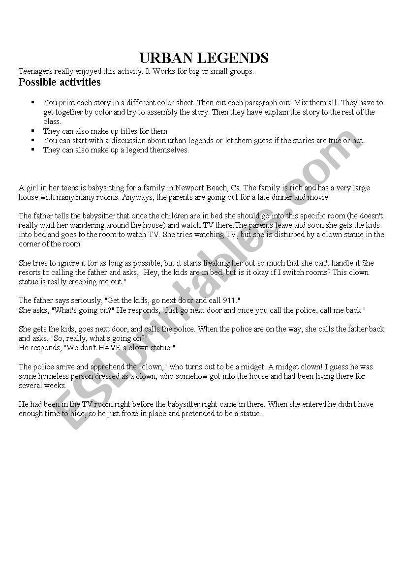 Urban legends mixed up - ESL worksheet by Vaniducca