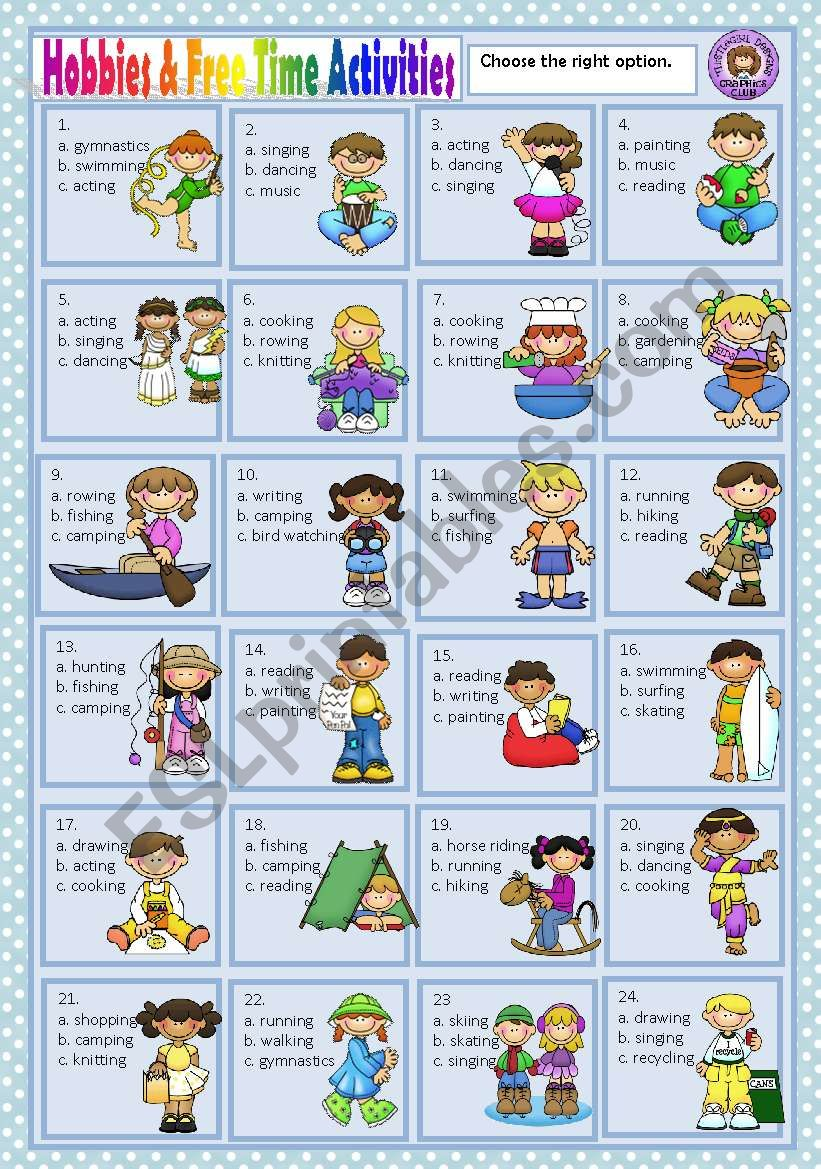 HOBBIES & FREE TIME ACTIVITIES - MULTIPLE CHOICE