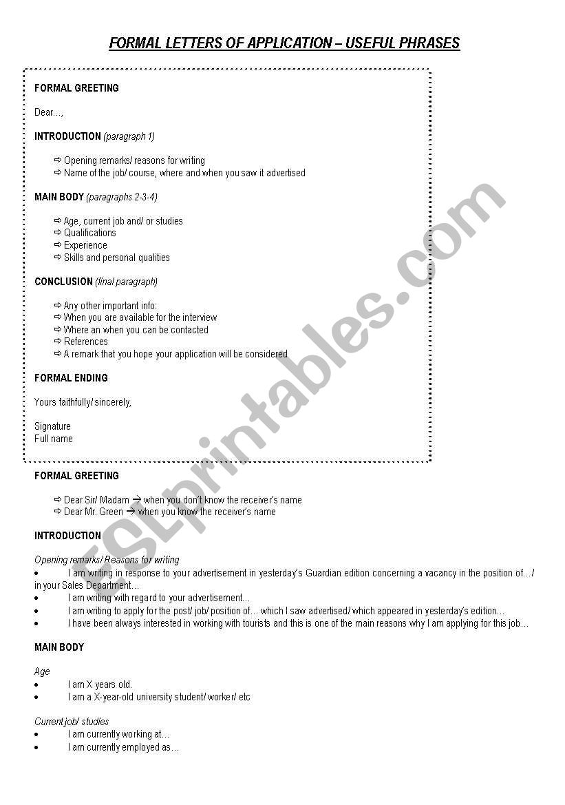formal letters of application esl worksheet debbie jpg 821x1169 application ending phrases