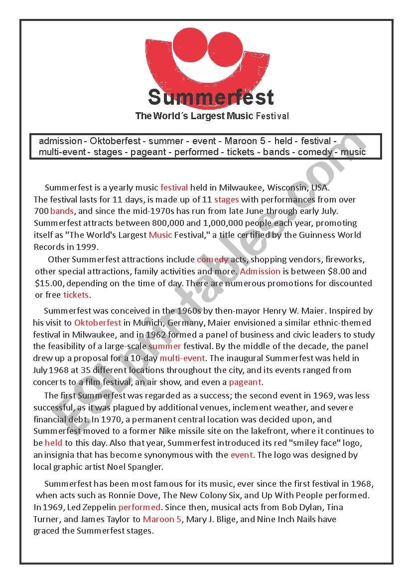 Summerfest Festival worksheet