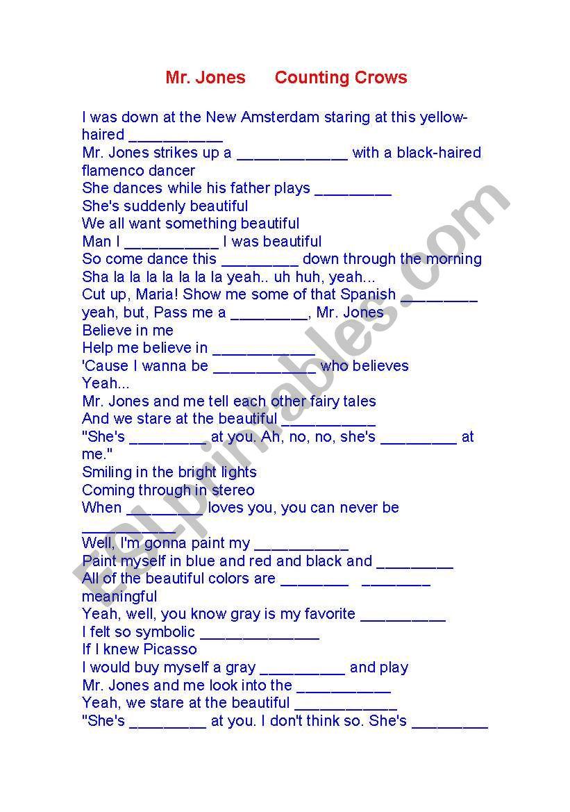 Mr Jones worksheet