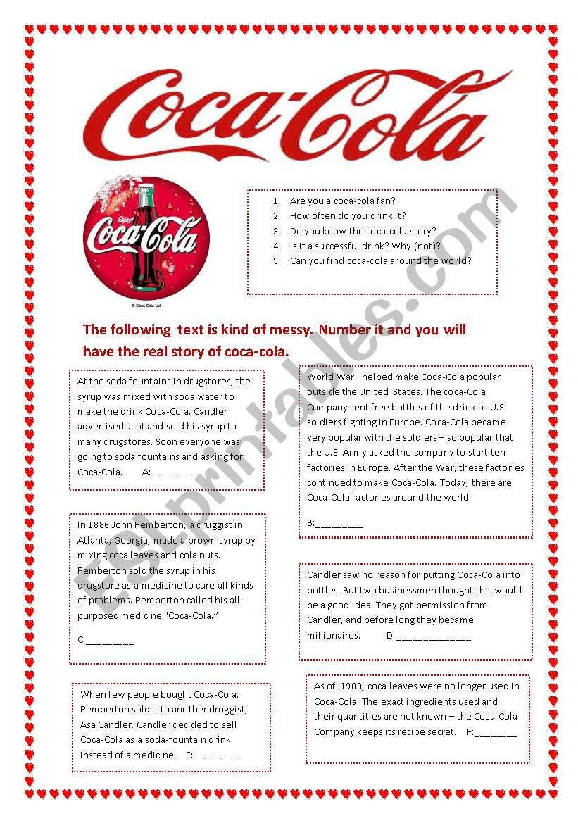 The Coca- Cola story worksheet
